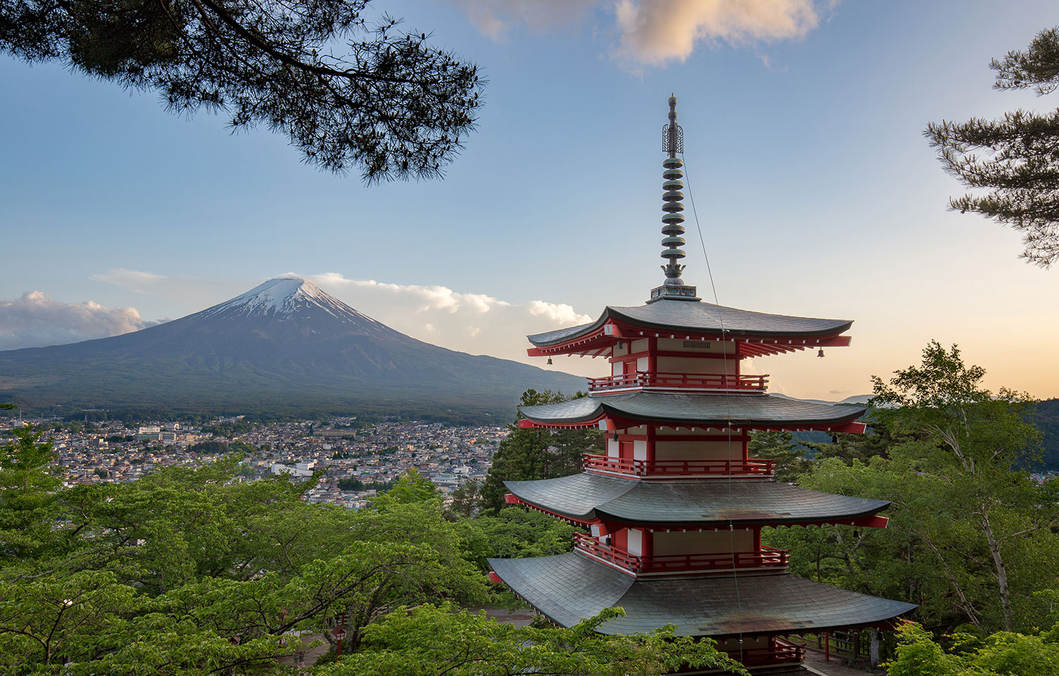 view of mount fuji from the chureito pagoda